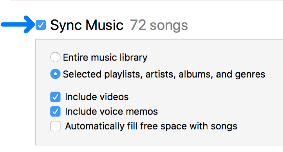 Sync Music near the top left is selected with options to sync your entire library or only selected items.