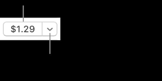 Un bouton affichant un prix. Cliquez sur le prix pour acheter l'élément. Cliquez sur la flèche pour offrir l'article à un ami, l'ajouter à votre liste de souhaits, et plus encore.