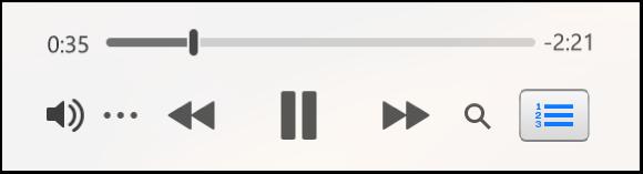 Le mini-lecteur iTunes réduit, affichant uniquement les commandes (et pas les illustrations d'album).