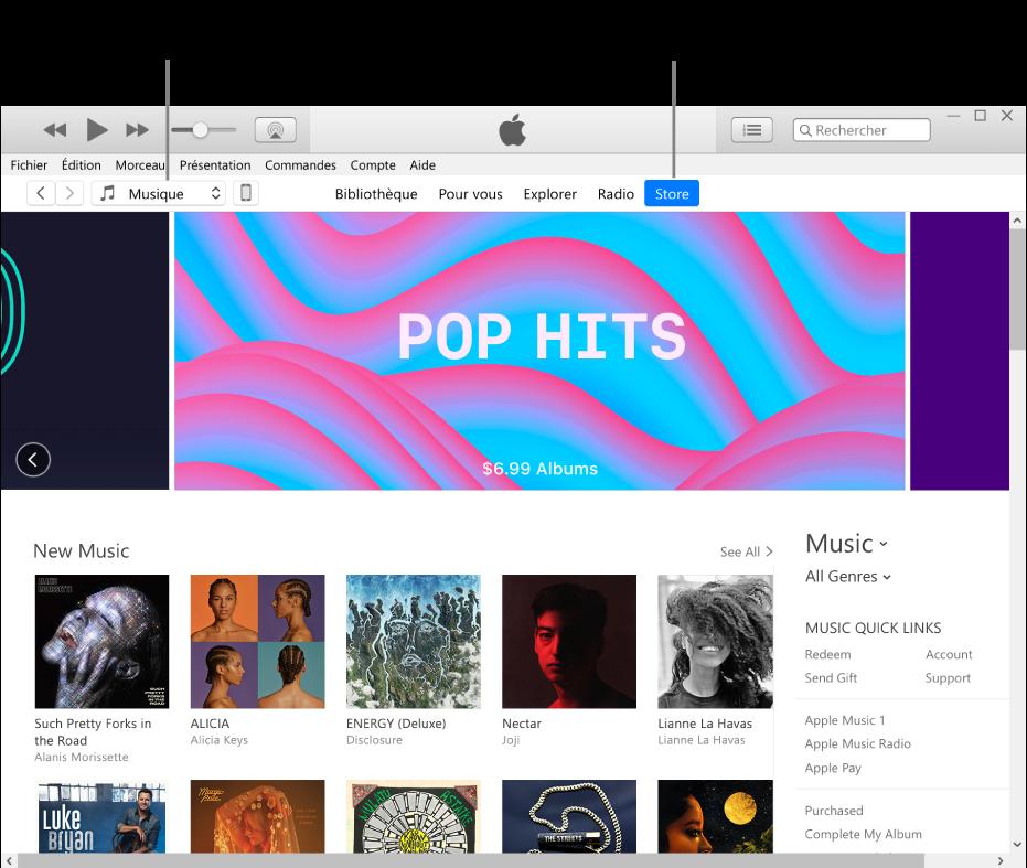 La fenêtre principale de l'iTunesStore: Dans la barre de navigation, Store est surligné. Dans le coin supérieur gauche, choisissez de voir différents contenus dans l'iTunesStore (par exemple Musique ou TV).