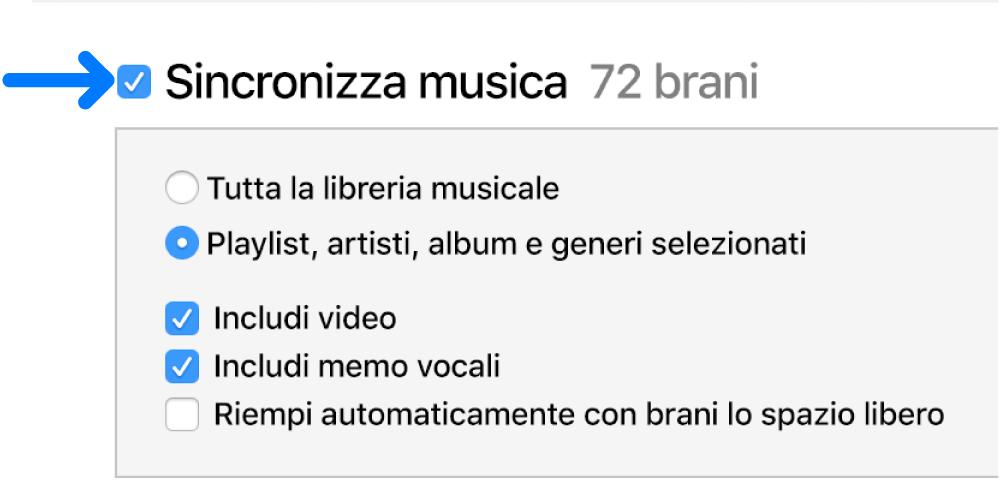 """La voce """"Sincronizza musica"""", vicino alla parte superiore sinistra, è selezionata e mostra le opzioni per sincronizzare l'intera libreria o solo gli elementi selezionati."""