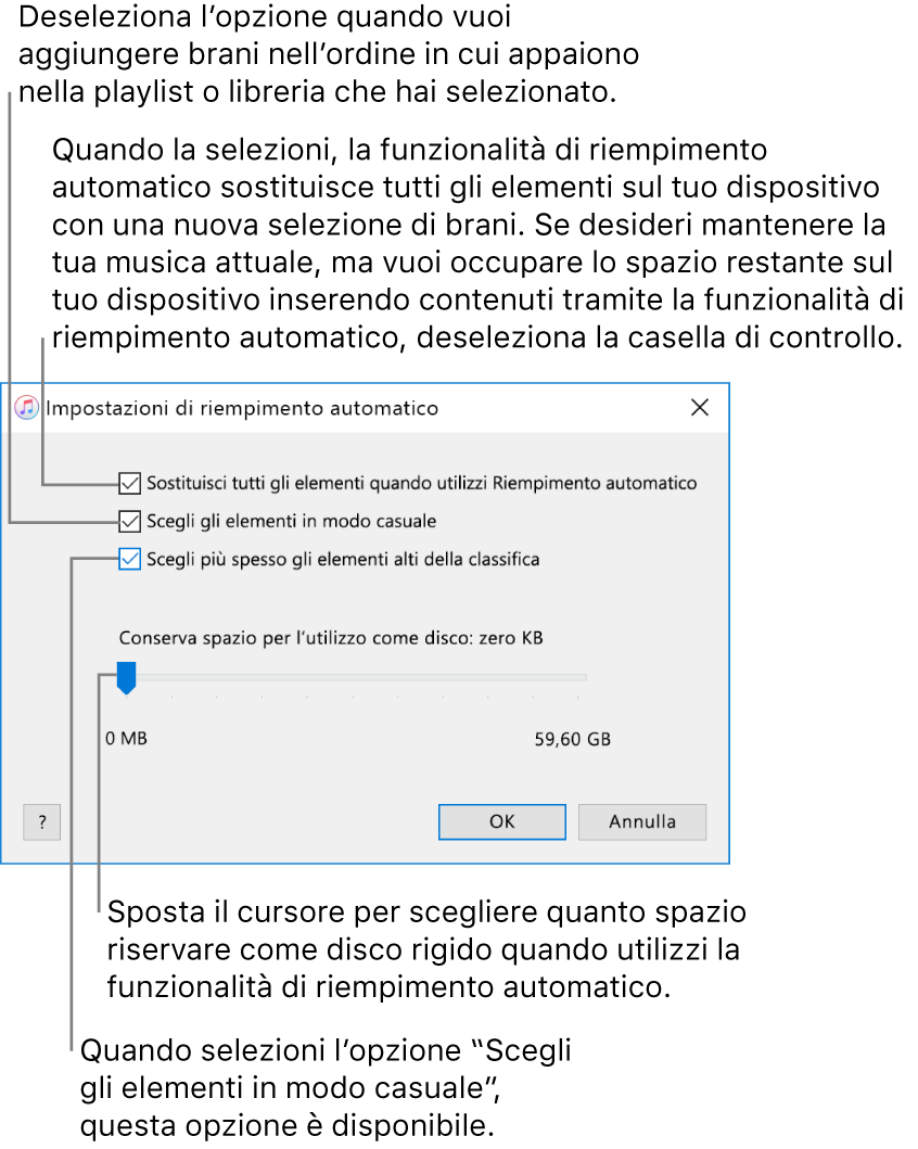"""La finestra di dialogo del riempimento automatico che mostra quattro opzioni, dall'alto al basso. Se sul tuo dispositivo hai musica e desideri che l'opzione di riempimento automatico sostituisca tutti gli elementi con nuovi brani, seleziona l'opzione """"Sostituisci tutti gli elementi quando utilizzi Riempimento automatico"""", in alternativa, deseleziona l'opzione per utilizzare lo spazio rimanente sul tuo dispositivo. Per aggiungere brani nell'ordine in cui compaiono nella libreria o nella playlist selezionata, deseleziona l'opzione """"Scegli elementi in modo casuale"""". L'opzione successiva, """"Scegli più spesso gli elementi alti della classifica"""" è disponibile solo quando è selezionata l'opzione """"Scegli elementi in modo casuale"""". Se vuoi tenere libero dello spazio da utilizzare come disco rigido, regola il cursore per impostare la capacità del disco."""