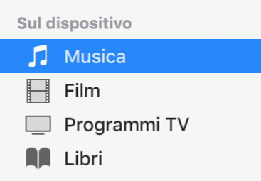 """La sezione """"Sul dispositivo"""" della barra laterale che mostra Musica selezionato."""
