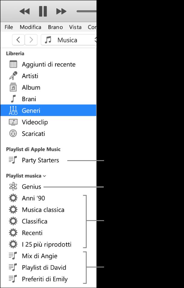 La barra laterale di iTunes che mostra diversi tipi di playlist: Apple Music (solo per abbonati), Genius, smart e standard.