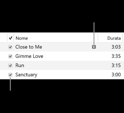 Dettagli della vista Brano in Musica, che mostra le caselle di controllo a sinistra e un simbolo di contenuti espliciti per il primo brano (che indica che il testo presenta contenuti espliciti). Deseleziona la casella di controllo accanto a un brano per impedirne la riproduzione.