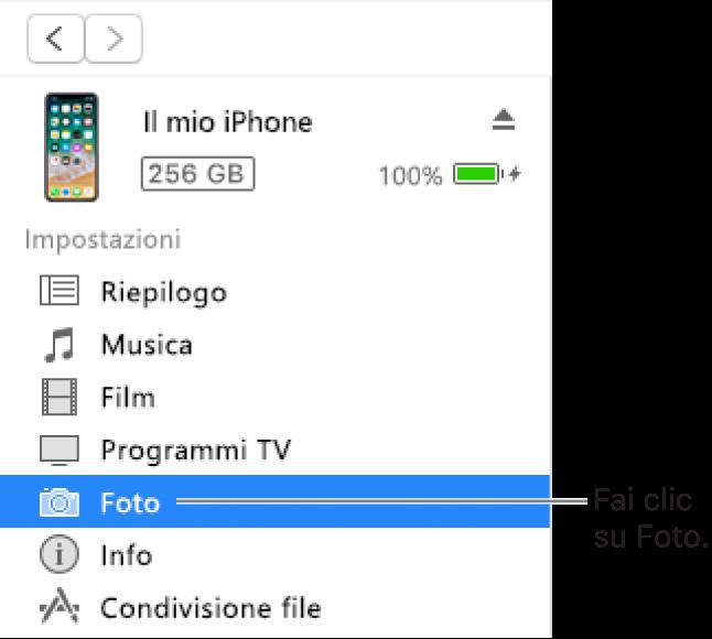 La finestra Dispositivo, con la voce Foto selezionata nella barra laterale a sinistra.