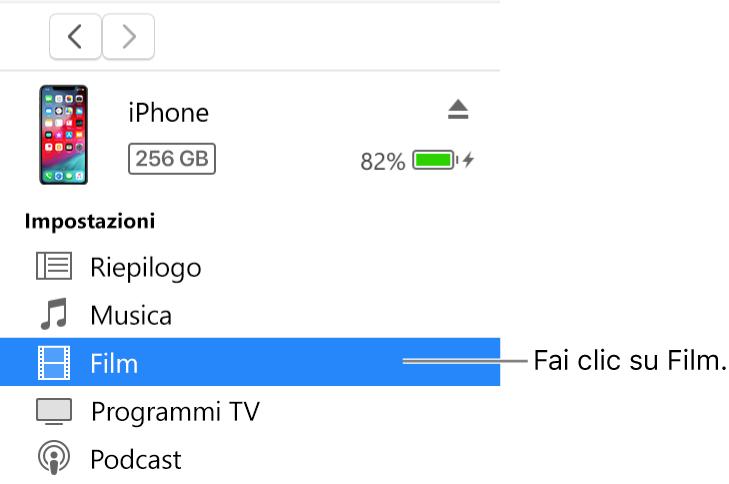 La finestra Dispositivo, con la voce Film selezionata nella barra laterale a sinistra.