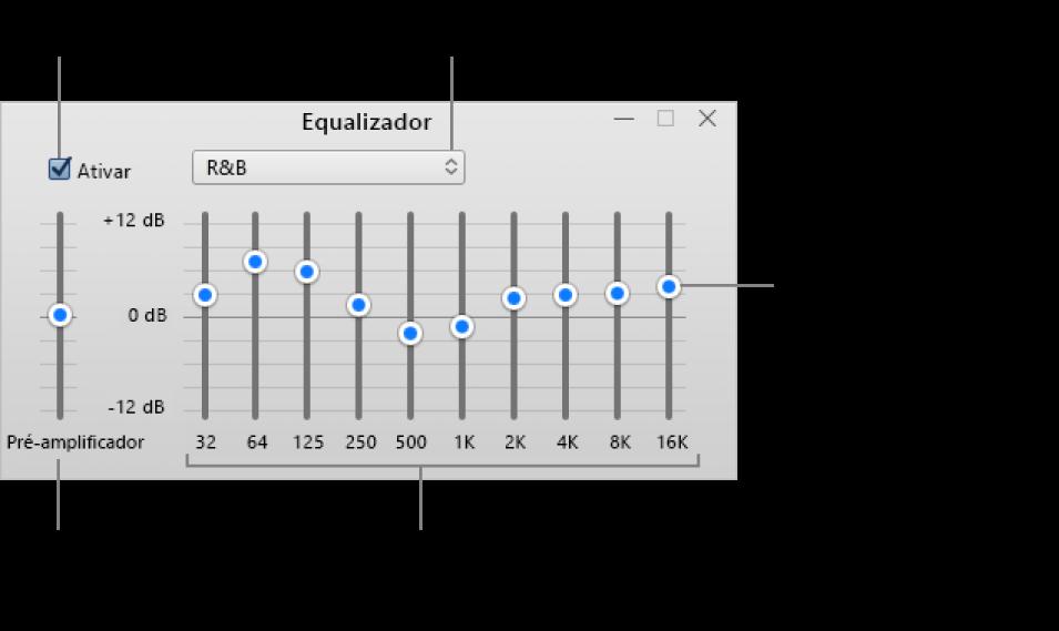 A janela do Equalizador: A caixa de seleção para ativar o equalizador do iTunes está no canto superior esquerdo. Ao seu lado, o menu local com os pré-ajustes do equalizador. Na extremidade esquerda, ajuste o volume geral das frequências com o pré-amplificador. Abaixo dos pré-ajustes do equalizador, ajuste o nível sonoro dos intervalos de frequência que representam o espectro da audição humana, do mais grave ao mais agudo.