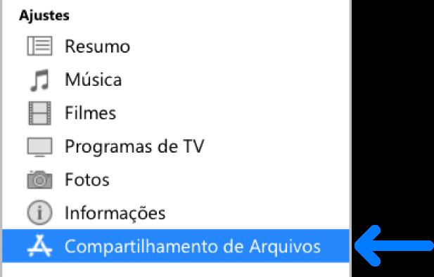 """Nos Ajustes do dispositivo, clique em """"Compartilhamento de Arquivos"""" para transferir arquivos entre o computador e o dispositivo."""
