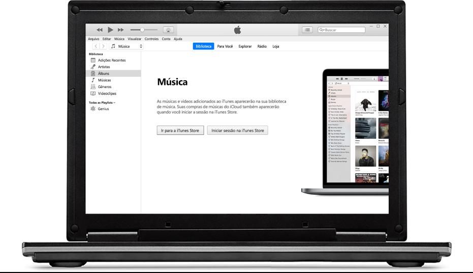 Um PC com uma biblioteca do iTunes nova, vazia.