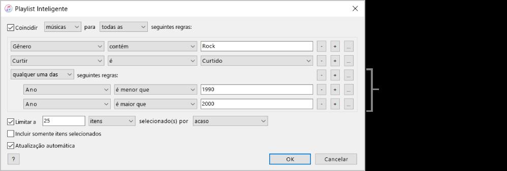 A janela da Playlist Inteligente: use o botão Aninhar à direita para criar regras adicionais aninhadas e obter resultados mais específicos.