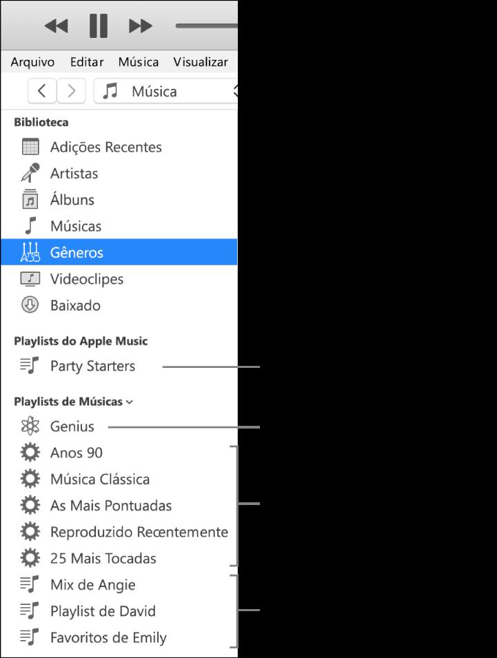 A barra lateral do iTunes mostrando os vários tipos de playlists: playlists Apple Music (somente assinantes), Genius, Inteligentes e padrão.