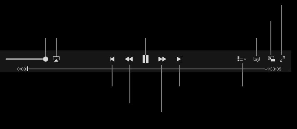 Controles de vídeo: Volume, AirPlay, Vídeo anterior, Reverter exploração, Reproduzir/Pausar, Avançar exploração, Vídeo seguinte, Seletor de capítulos (somente para filmes), Legendas, PIP e Tela cheia.