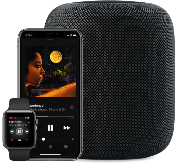 Visualização de uma música no Apple Music sendo reproduzida em um Apple Watch, iPhone e HomePod.