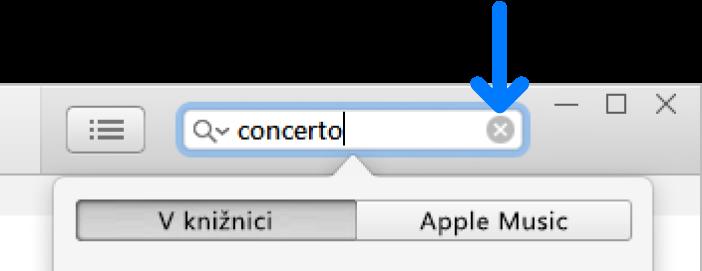 Vyhľadávacie pole so zadaným textom. Tlačidlo Vymazať je na pravej strane poľa.
