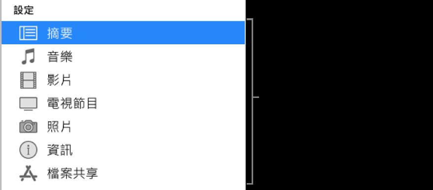 在左側側邊欄選取的摘要。顯示的內容類型可能有所不同,視您的裝置和 iTunes 資料庫中的內容而定。
