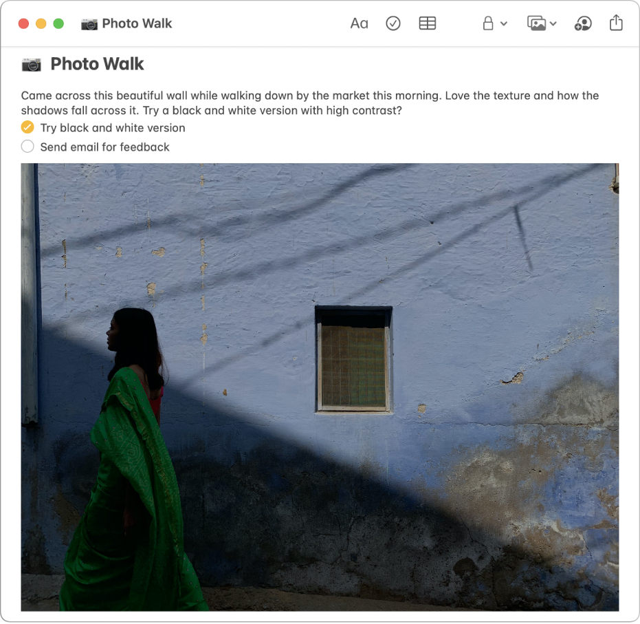 A note that includes a description of a photo walk, a checklist of things to do, and a photo of a woman walking by a wall.