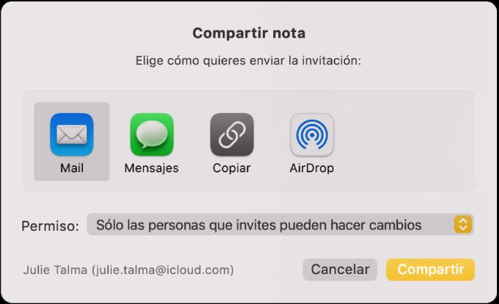 """El cuadro de diálogo """"Compartir nota"""", donde puedes escoger cómo enviar la invitación para compartir una nota."""