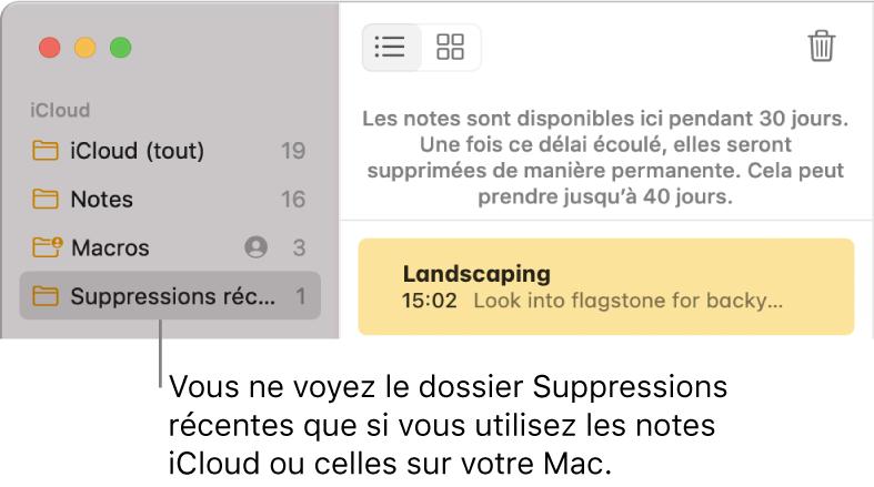La fenêtre Notes avec le dossier Suppressions récentes dans la barre latérale et une note récemment supprimée. Le dossier Suppressions récentes s'affiche uniquement si vous utilisez des notes iCloud ou des notes stockées sur votre Mac.