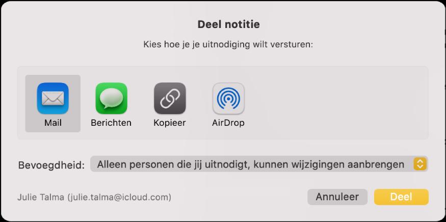 Het dialoogvenster 'Deel notitie', waar je kunt aangeven hoe je de uitnodiging wilt versturen om een notitie te delen.
