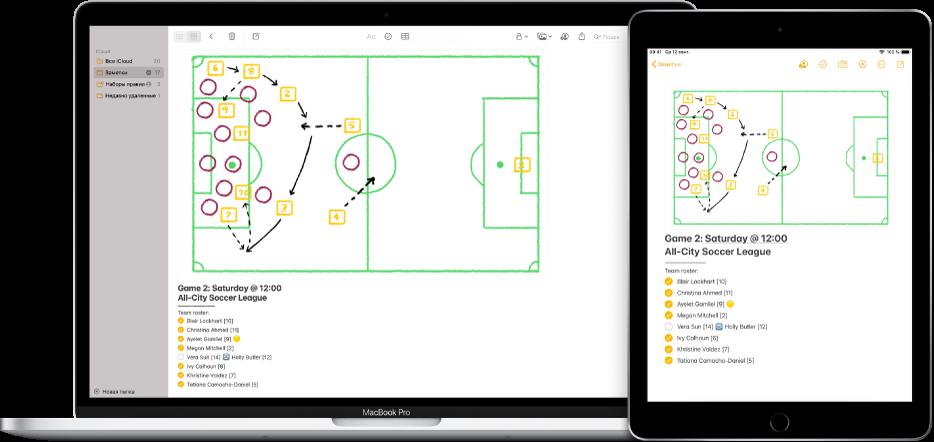 На Mac и iPad показана одна и та же заметка из iCloud.