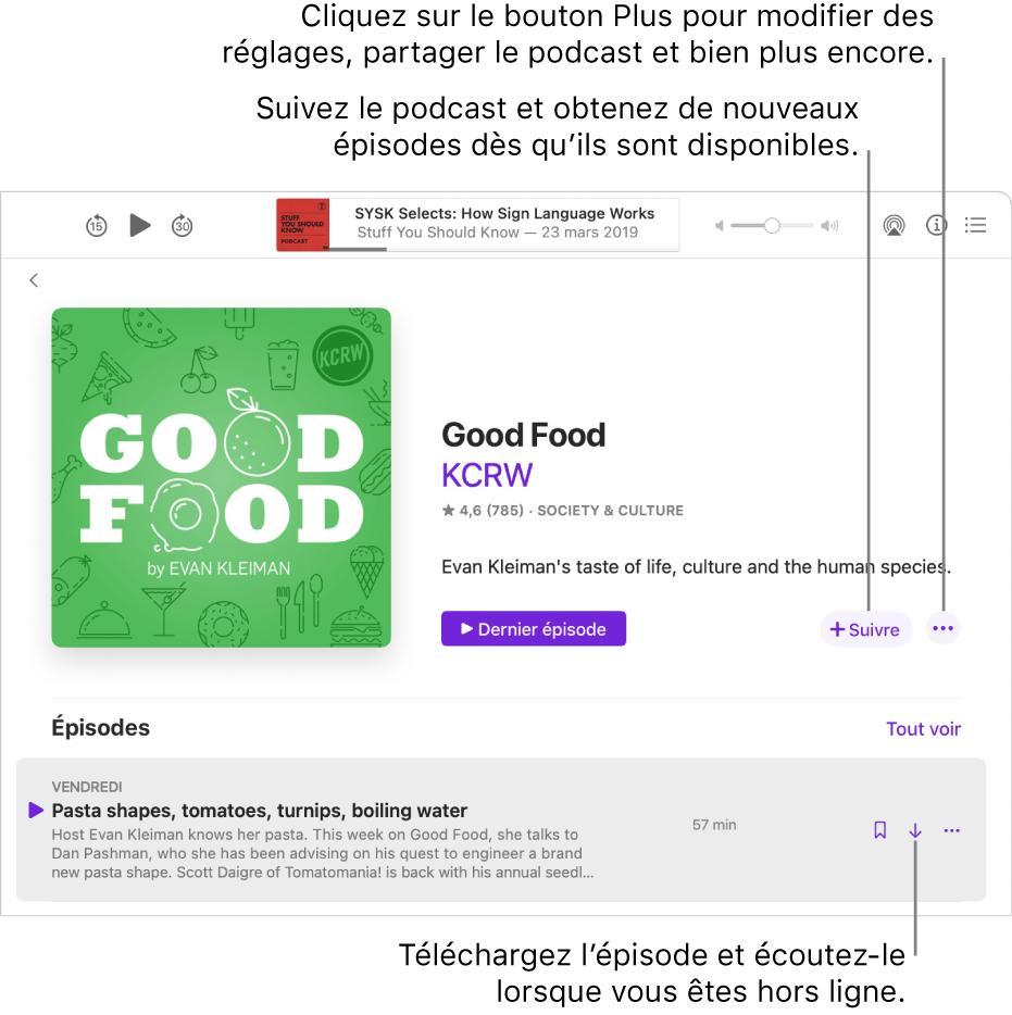 L'écran de détails du podcast. Cliquez sur Suivre pour télécharger les nouveaux épisodes dès qu'ils sont disponibles. Cliquez sur le bouton Plus pour modifier les réglages, partager le podcast, et plus encore. Téléchargez l'épisode si vous souhaitez l'écouter lorsque vous n'êtes pas connecté à Internet.