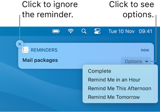 A reminder notification with Complete and Later buttons.