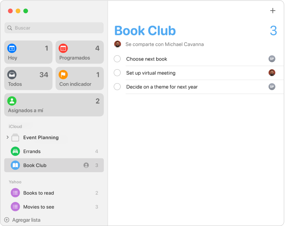 La ventana Recordatorios, mostrando los recordatorios de las cuentas iCloud y Yahoo.