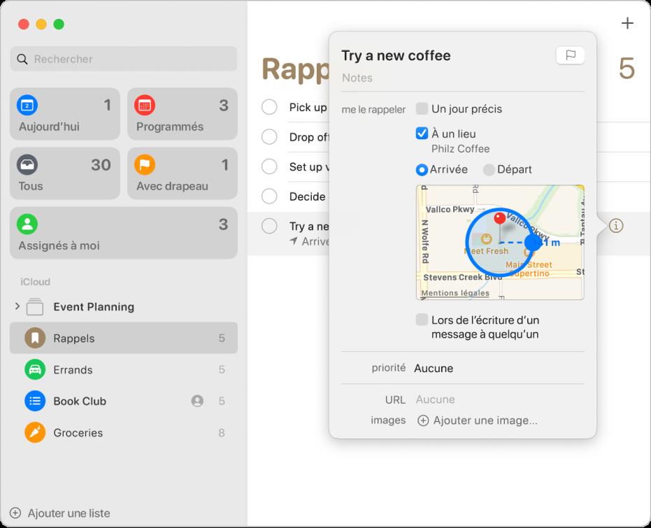 Fenêtre de détails de rappel affichant la configuration d'une notification pour un lieu.