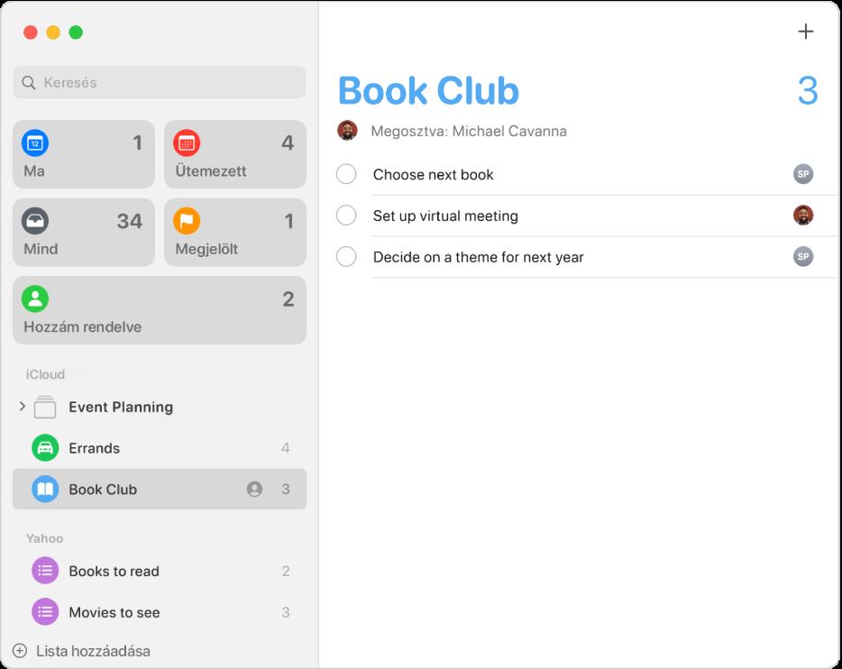Az Emlékeztetők ablaka, amelyben iCloud- és Yahoo-fiókokhoz tartozó emlékeztetők láthatók.