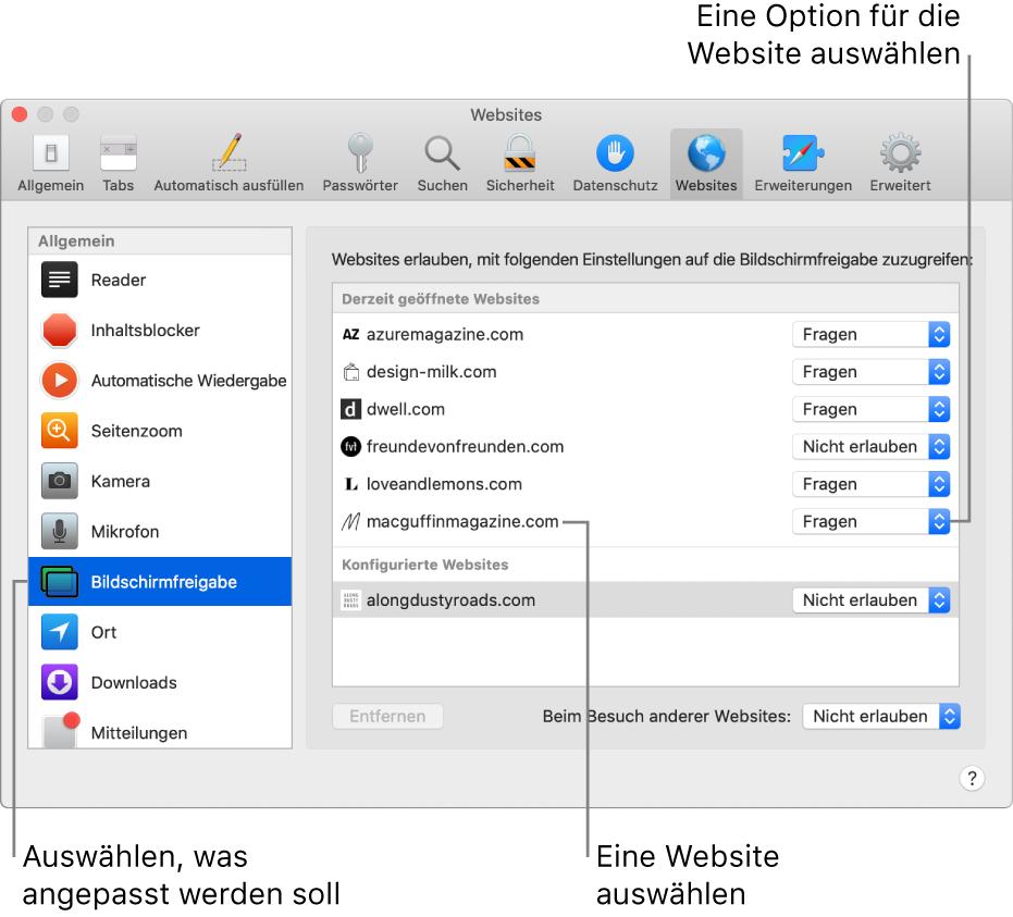 """Der Bereich """"Websites"""" in den Einstellungen für Safari, mit dessen Optionen du das Verhalten einzelner Websites anpassen kannst."""