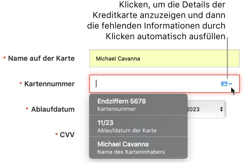 """Kreditkarteninformationen mit fehlendem Detail und den verfügbaren Optionen der Einstellung """"Automatisch ausfüllen""""."""