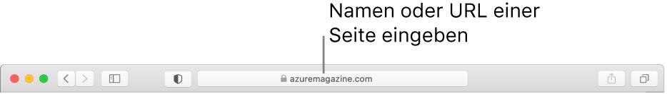 Das intelligente Suchfeld befindet sich in der Mitte der Safari-Symbolleiste.