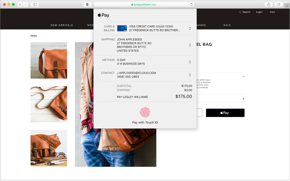 A popular shopping site that allows Apple Pay, and the details of your purchase including which credit card was billed, shipping information, store information, and purchase price.