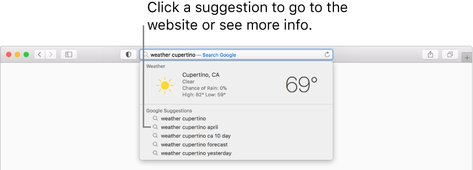 """The search phrase """"weather cupertino"""" entered in the Smart Search field, and the Safari Suggestions results."""