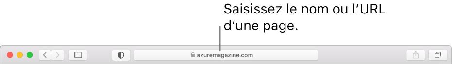 Champ de recherche intelligente situé au milieu de la barre d'outils de Safari.