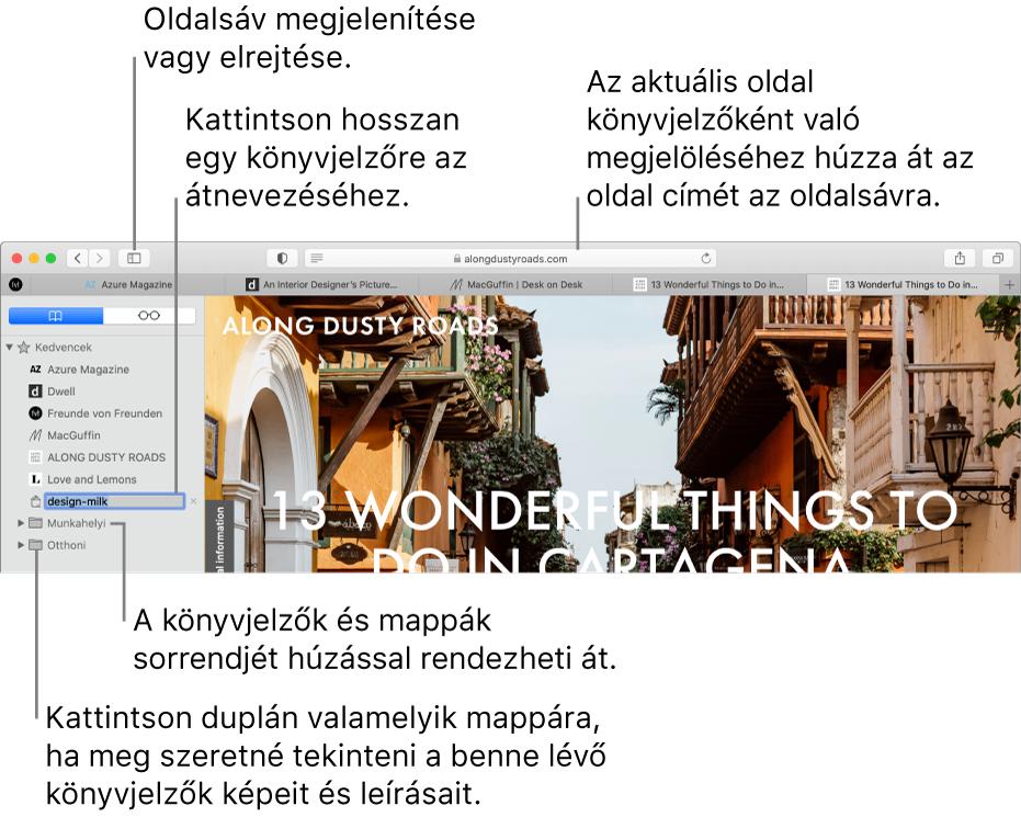 A Safari-ablak az oldalsávon könyvjelzőkkel; az egyik könyvjelző ki van jelölve szerkesztéshez.