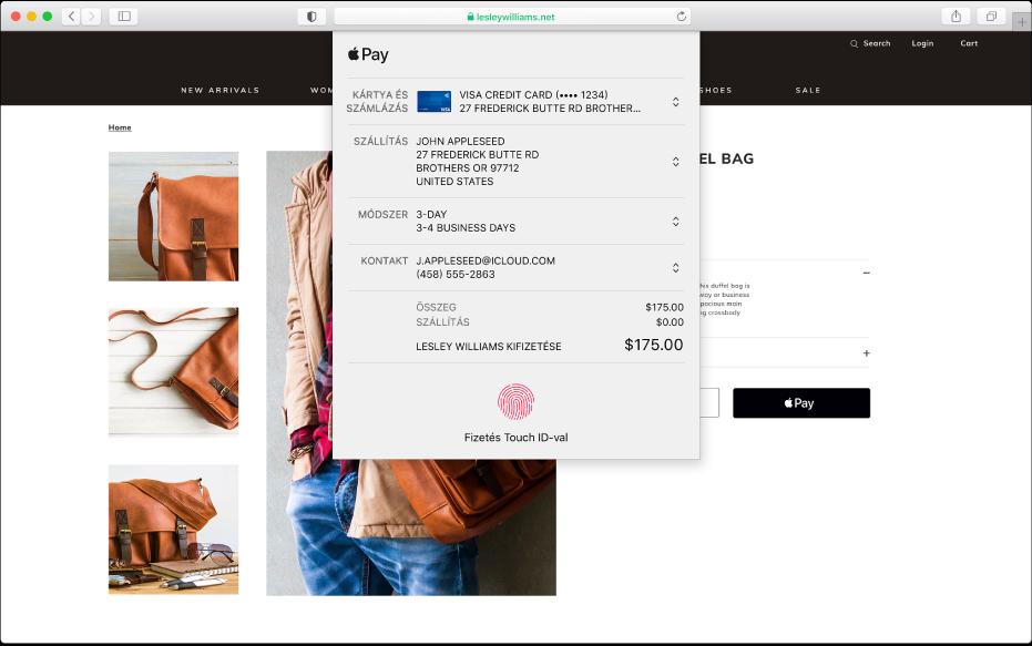 Az Apple Payt engedélyező népszerű vásárlási webhely, és a vásárlás részletei, a megterhelt bankkártyával, a szállítási adatokkal, a készletinformációkkal és a vásárlás árával.