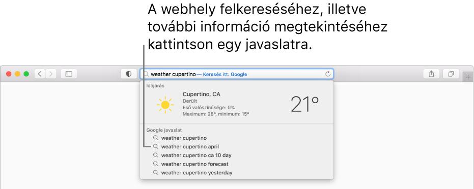 """A """"weather cupertino"""" kifejezés az intelligens keresési mezőben, és a Safari-javaslatok eredményei."""