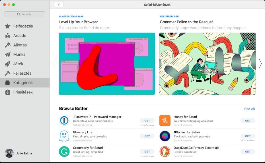 A Mac App Store kezdőlapja A bal oldali oldalsávon az áruház különböző területeire mutató hivatkozások láthatók, például Arcade és Létrehozás. A Kategóriák elem pedig ki van választva. A jobb oldalon a Safari-bővítmény kategória látható.
