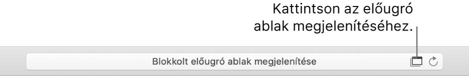 Az Intelligens keresési mező jobb oldalűn egy ikon látható a felugró ablakok megjelenítésének engedélyezéséhez.