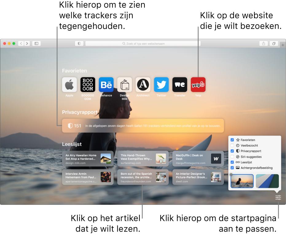 De startpagina van Safari met favoriete websites, een samenvatting van het privacyrapport, artikelen in de leeslijst en opties voor de startpagina.