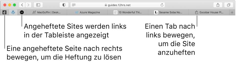 Fixierte Sites in der Safari-Tableiste.