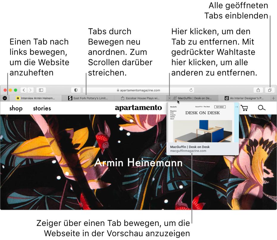 Das Safari-Fenster mit mehreren geöffneten Tabs; der Zeiger befindet sich über einem Tab und es wird eine Vorschau einer Webseite angezeigt.