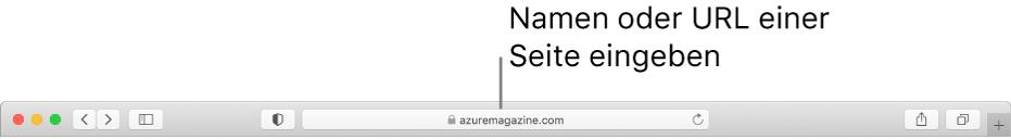 Das intelligente Suchfeld von Safari, in dem du Name oder URL einer Seite eingeben kannst.