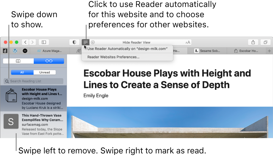 A Safari window with a Reading List displayed.