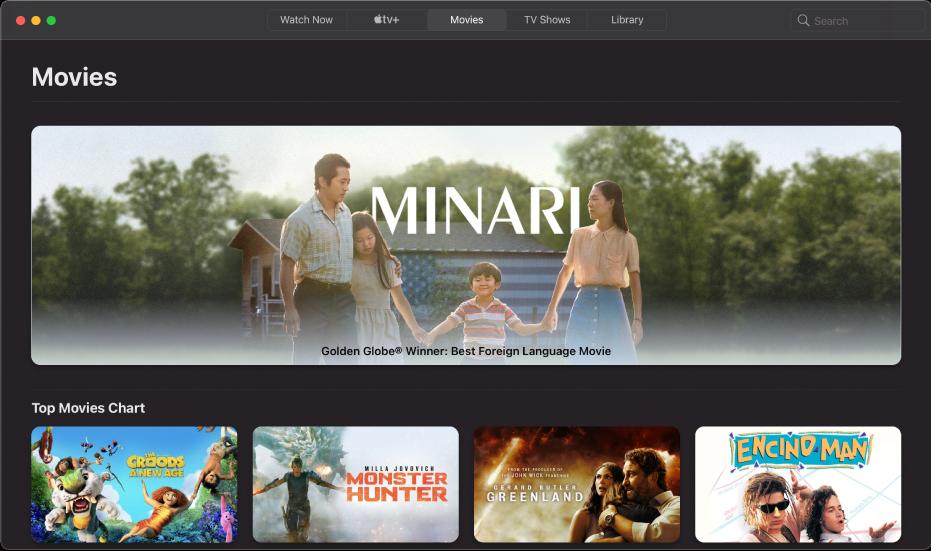 Screen showing Films