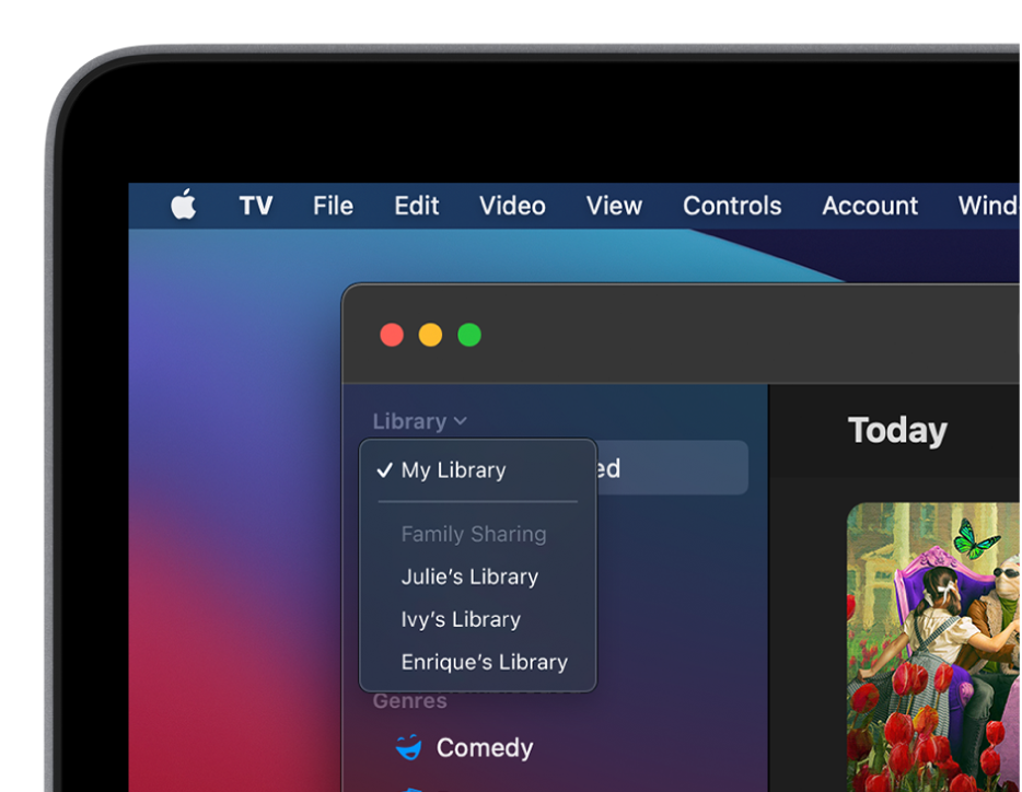 The Apple TV app library screen with family members' libraries shown in the sidebar.