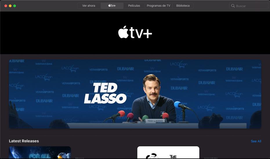 La pantalla mostrando Apple TV+