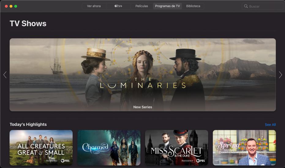 La pantalla mostrando programas de TV
